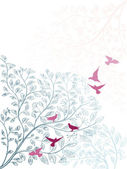Elegant background with branch of tree and birds — Διανυσματικό Αρχείο