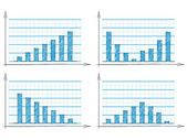 Hand drawn set of four blue bar charts — Stock Vector