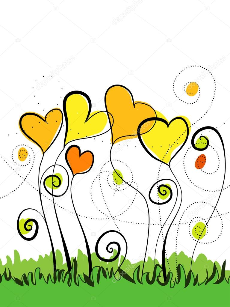 Bright spring floral background with hearts and flowers — Stock Vector #18683413