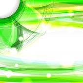 Resumen fondo verde brillante con flor — Vector de stock