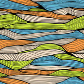 Seamless hand drawn horizontal background with colorful waves — Διανυσματικό Αρχείο