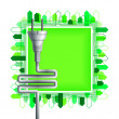 White electricity plug over the green square with buildings. Ecological concept — Stock Vector