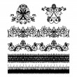 Set of design elements for floral baroque ornament — Stok Vektör