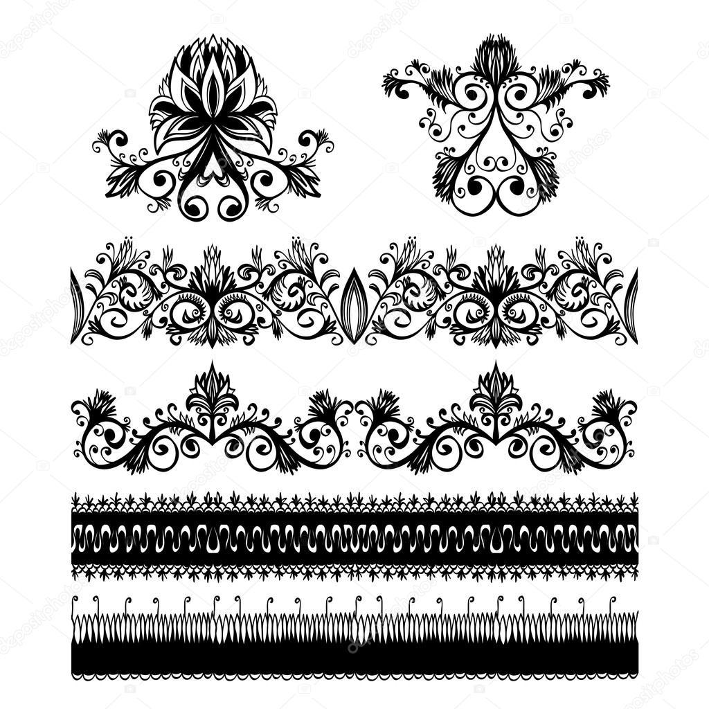 Set of design elements for floral baroque ornament stock for Baroque design elements