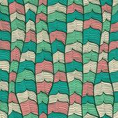 シームレスな手描きの波と抽象的なビンテージ背景 — ストックベクタ