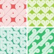 Set of four vintage seamless geometrical retro patterns — Stock Vector