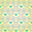 Stockvector : Seamless pastel background with abstract striped retro hearts