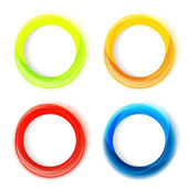 Set of four colorful circle frames with white copyspace — Stock Vector