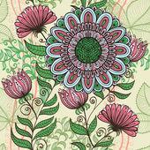 エレガントなシームレスなビンテージ緑およびピンク花の背景 — ストックベクタ