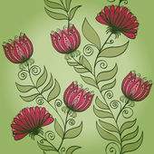 Seamless vintage green pattern with flowers — Stock Vector