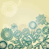 Blue vintage background with gradientl flowers — Stock Vector