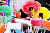 Colorful cleanig brushes — Stock Photo
