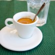 White espresso cup and a glass of cold water — Stock Photo