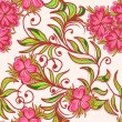 Seamless floral pattern with pink flower — Stock Vector