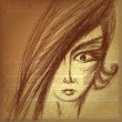 Pencil sketch of young girl face — Imagen vectorial