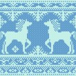 Stock Vector: Seamless embroidery blue Christmas pattern with horses