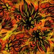 Expressive sketchy floral seamless pattern with fire colors — Imagen vectorial