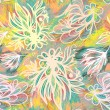 Expressive sketchy floral seamless pattern with pastel colors — Imagen vectorial