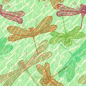 Seamless vintage pattern with dragonflies — Stock Vector