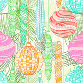 Seamless Christmas pattern with balls and pine branches — Stockvector