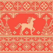 Seamless embroidery red Christmas pattern with horse and pine trees — Stock Vector