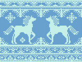 Seamless embroidery blue Christmas pattern with horses — Διανυσματικό Αρχείο