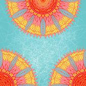 Carte de voeux grunge rose et bleu avec ornement floral — Vecteur