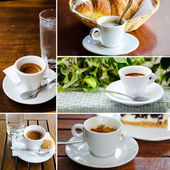 Set of espresso cups with cookies — Stock Photo