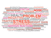 Stress symptoms. Word cloud concept — Vector de stock