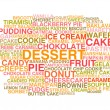 Variety of desserts. Word cloud — Stock Vector