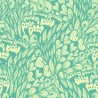 Seamless vintage blue pattern with flowers and hearts — Stock Vector