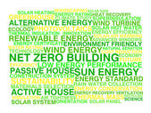 Net zero building. Word cloud concept — Vetor de Stock