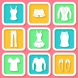 Stock Vector: Set of 9 colorful icons of female clothing