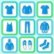 Set of 9 bright icons of men clothing — Vettoriali Stock