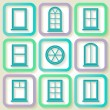 Set of 9 retro icons of different types of windows — Stock Vector