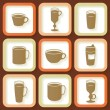 Set of 9 vintage icons of different coffee cups — Stock Vector