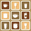 Set of 9 vintage icons of different coffee cups — Stock Vector #36467517