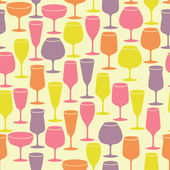 Seamless vintage background with wine glasses — Stock Vector