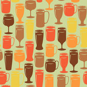 Seamless vintage background with beer glasses — Stock Vector