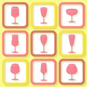 Set of 9 retro icons with different wine glasses — Stock Vector