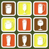 Set of 9 retro icons of different beer glasses — Stock vektor