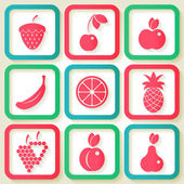 Set of 9 retro icons with fruits — Stock Vector