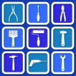 Set of 9 retro blue worker's tools — Stock Vector