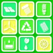 Set of 9 retro icons of renewable energy — Stock Vector