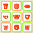Set of 9 different icons with flower pots — Stock Vector