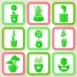 Set of 9 icons of different plants and flowers — Stock Vector