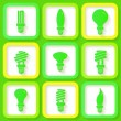 Set of 9 green icons of energy saving lamps — Stock Vector