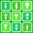Set of 9 green icons of energy saving lamps — Stock Vector #37281589