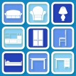 Set of 9 retro blue icons of house furniture — Stock Vector #37281647
