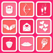 Set of 9 retro pink icons of Valentine's day symbols — Stock Vector